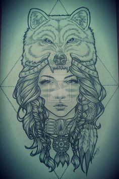 Native American girl with a wolf head dress. (I would change it to a bear for sure)