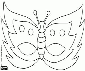 Vlinder masker kleurplaat