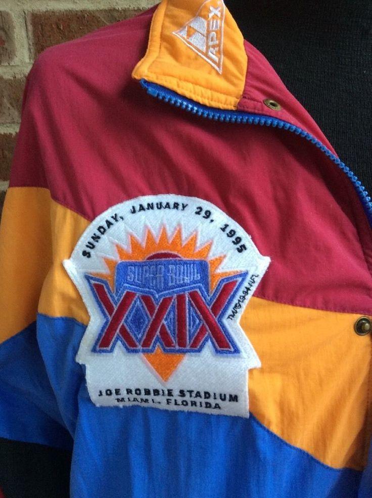 Vintage Super Bowl XXIX 29 Apex Jacket L NFL 49ers Chargers Miami Florida 1995 #ApexOne