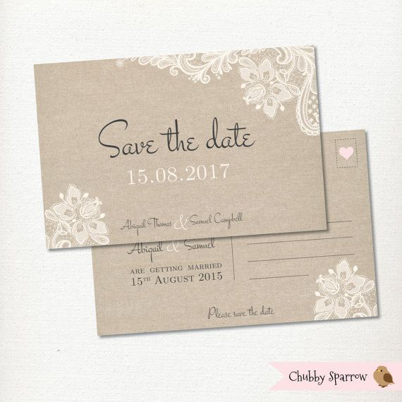 Save the Date Postcard Lace & Linen Wedding by ChubbySparrow