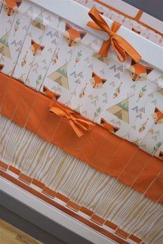 Crib Bedding Fox, Baby Bedding, Arrows Fox Teepee Wood Grain Tribal Southwest Teal Mint Orange Navy Nursery, Tipi Crib Set, Baby Boy Crib by modifiedtot on Etsy https://www.etsy.com/listing/489498481/crib-bedding-fox-baby-bedding-arrows-fox