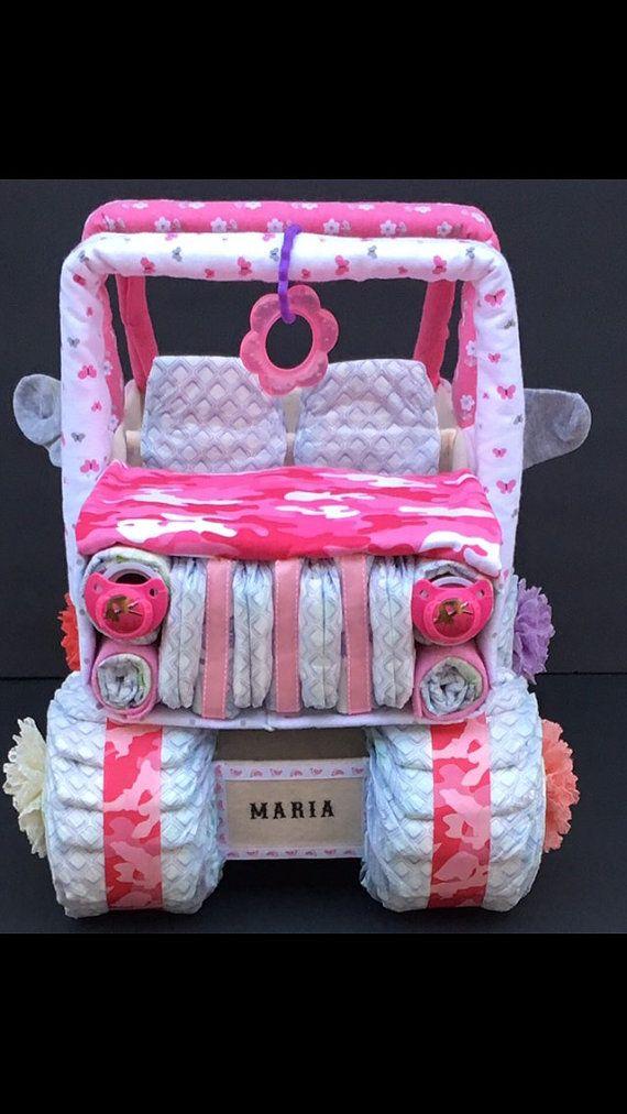 Shower de bébé rose Camo gâteau de couches jeep camo rose