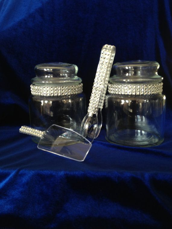 Three 20 oz Silver Bling Apothecary Glass Candy Jars with 2 Bling Tongs & 1 Bling Mini Candy Scoop: Candy Buffet, Home Decor, Special Event