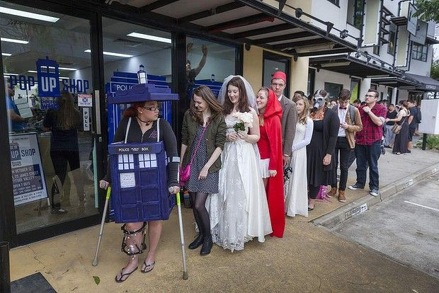 People waiting for a Doctor Who pop up shop in Fortitude Valley, Queensland to open. First in line was Sampy Stevens dressed as the Tardis.