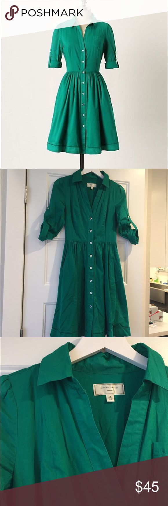 Anthropologie Moulinette Soeurs Dress - 0 Reed Shirtdress from Anthropologie brand Moulinette Soeurs in a gorgeous green. Lightweight cotton - I tried to tame the wrinkles! - with pockets, fully lined, and cute hem detail. EUC with one spot by the collar (pic included) where the cotton is a little discolored. It's not noticeable when worn. Anthropologie Dresses Midi