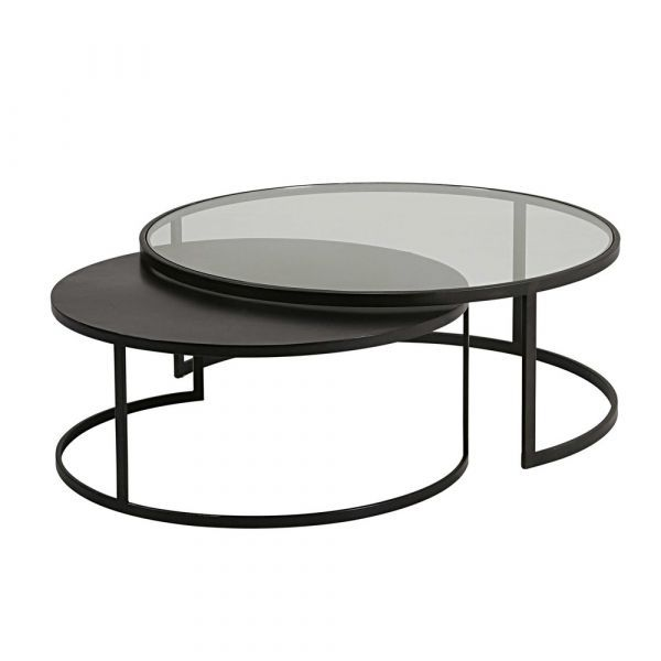 Set Of 2 Tempered Glass And Black Metal Nest Of Tables In 2020 Metal Table Round Glass Coffee Table Metal Nesting Tables