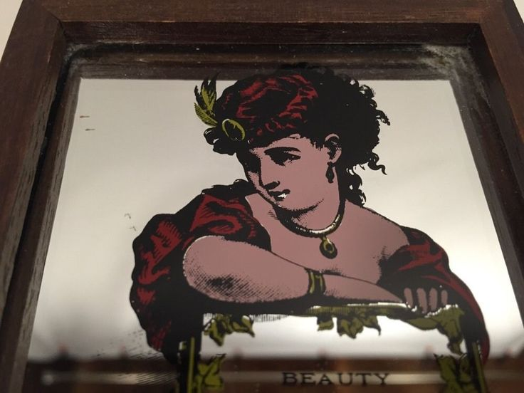 Wooden Music Box Plays Memories Sankyo Saloon Lady Mirrored Top Made in Japan #Sankyo
