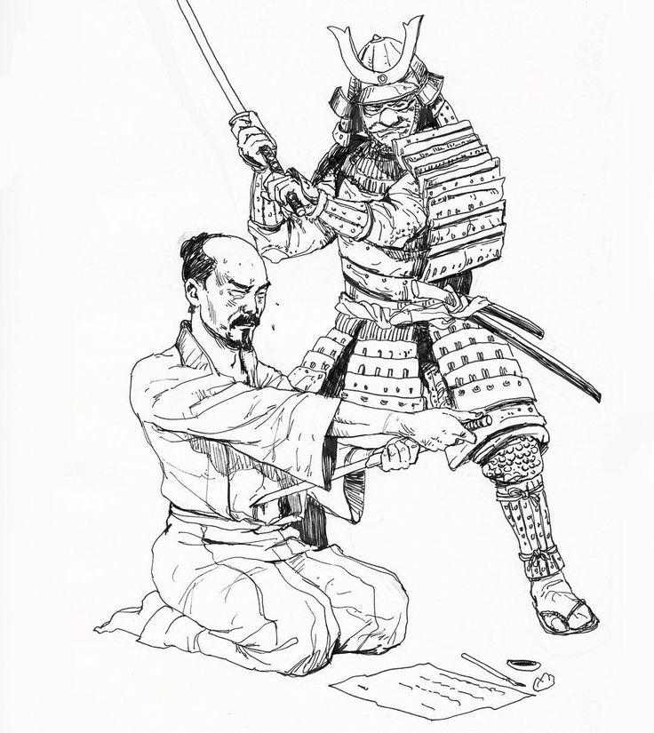Картинки самураев в доспехах с катаной карандашом