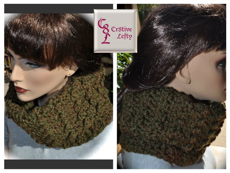 Calling all Outlander fans !!  This forest green cowl is inspired by the character Claire Fraser. It is created using very soft bulky yarn and is easy to care for because it is machine washable.  The deep forest green color, with reddish brown flecks, makes this a welcome accessory to any outfit.  It is very versatile and can be worn either folded in half (as shown), or unfolded. Handmade in the USA. $22.00 + shipping. #outlander #crochet #handmade