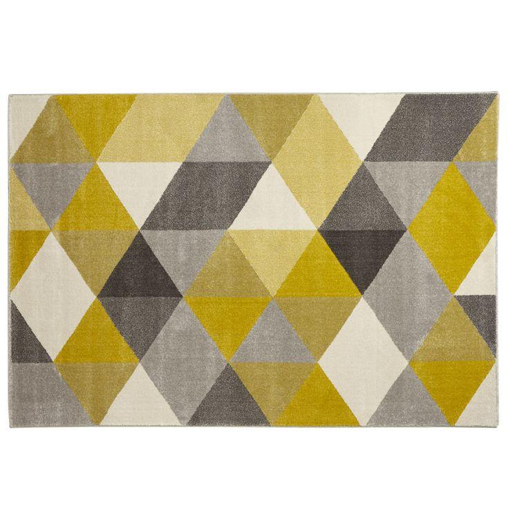 Tapis design GRAFIK - Grand tapis de salon aux tons jaunes