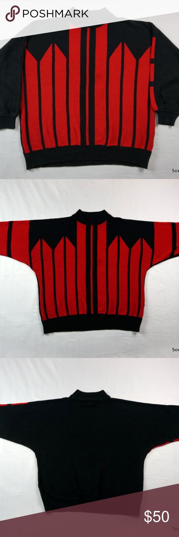 "Vintage 60s Helen Harper Sweater Red / Black XL Vintage 50s/60s Helen Harper Red & Black Sweater Women's Extra Large, XL, Acrylic, Vintage Sweater  Brand:     Helen Harper Size:        Men's XL / Extra Large Color:      Black/Red Material: 100% Acrylic   Detailed Measurements  Sleeves                 25"" inches Underarm: 	       25"" inches Length:      	       26"" inches Helen Harper Sweaters Crew & Scoop Necks"