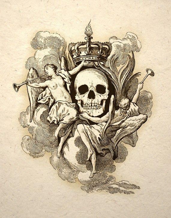 Skull Crown By Angels Gothic Macabre Art Print Memento Mori