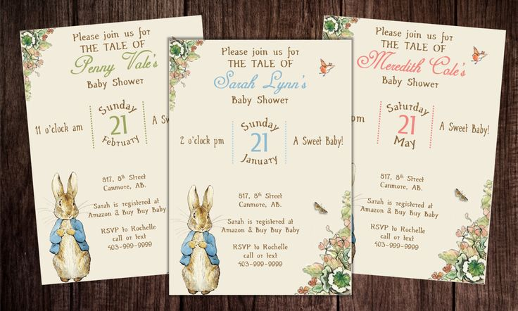 Printable Peter Rabbit Baby Shower, story book baby shower invitation, Peter Rabbit Birthday by PoppinPaperParties on Etsy https://www.etsy.com/listing/190287346/printable-peter-rabbit-baby-shower-story