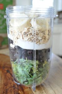 breakfast smoothie (with my tweaks) 1/2 cup kale, ripped, 1/2 cup blueberries, 2 T greek yogurt, 3 T rolled oats, 1/2 banana sliced, 1/4 cup almond milk, 1 t honey, super add in: chia powder