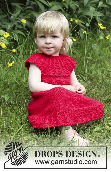 "Set consists of: Knitted DROPS dress with lace edge and round yoke in ""Cotton Merino"" and hair bow in garter st in ""Cotton Merino"