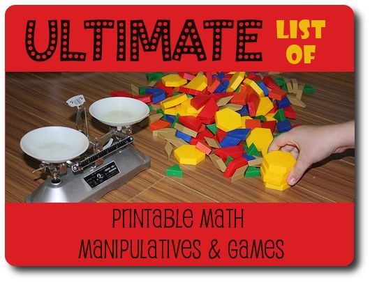 Ultimate list of printable math manipulatives and games (all free)