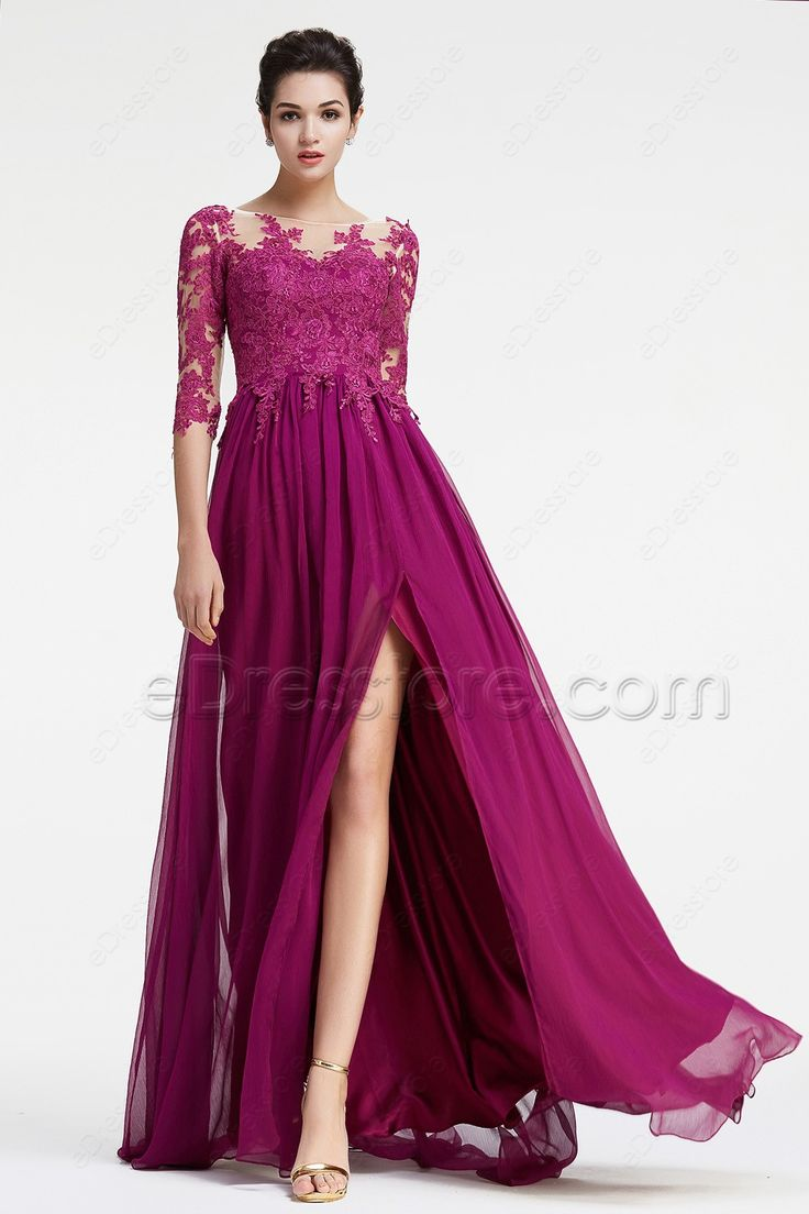 Best 25 magenta bridesmaid dresses ideas on pinterest purple magenta bridesmaid dresses long sleeves modest formal dress plus size ombrellifo Gallery