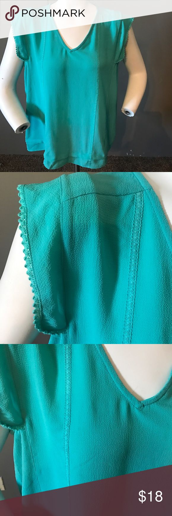 Papermoon Teal Blouse. Stitch fix Teal blouse crochet detail on the sleeves. XL 95% polyester 5% spandex. Tag was cut in half shown in the last picture Papermoon Tops Blouses