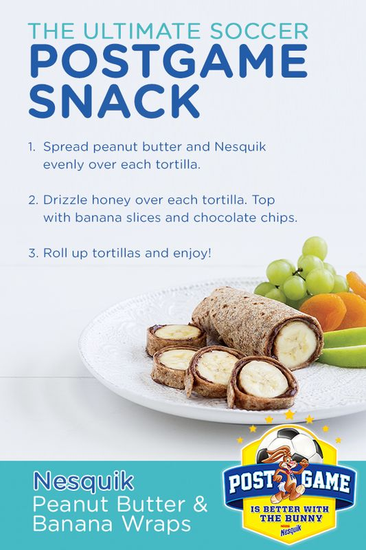 Peanut Butter & Banana Wraps are quick and easy and great as a post-game soccer snack! This simple recipe created in partnership with Nesquik's nutritionist, Tara Collingwood, is the ultimate celebratory bite. Learn how to make this delicious and wholesome snack from Nesquik today!