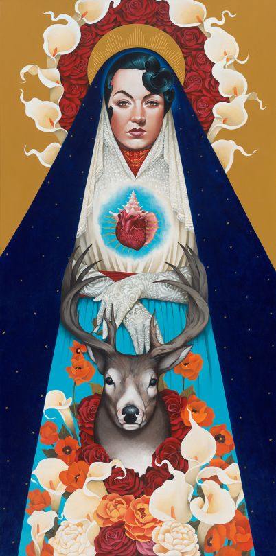 California based artist Gustavo Rimada mixes contemporary influences with classical imagery and Mexican folklore brilliantly while maintaining a beautiful style of his own.