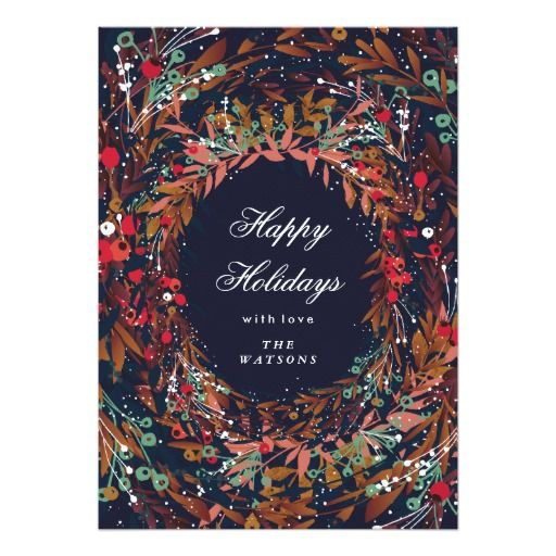Beautiful Wreath Happy Holidays Floral #zazzle