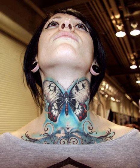 27 Beautiful Neck Tattoo Ideas: Butterfly Neck Tattoo