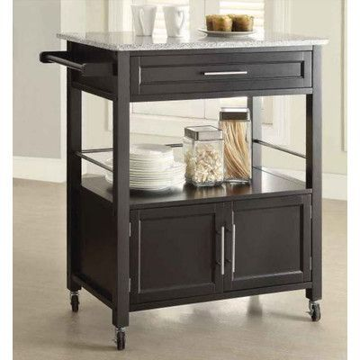 Features:  -Versatile design.  -Ample storage space in a single drawer, shelf and cabinet area.  -Durable easy roll wheels for quick movement.  -Granite top.  -Black finish.  -The wheels are hard, lay