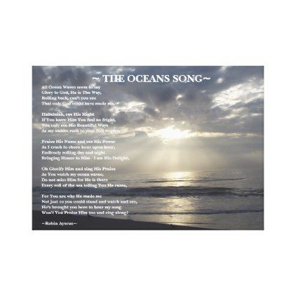 THE OCEANS SONG POEM CANVAS PRINT - gift for him present idea cyo design