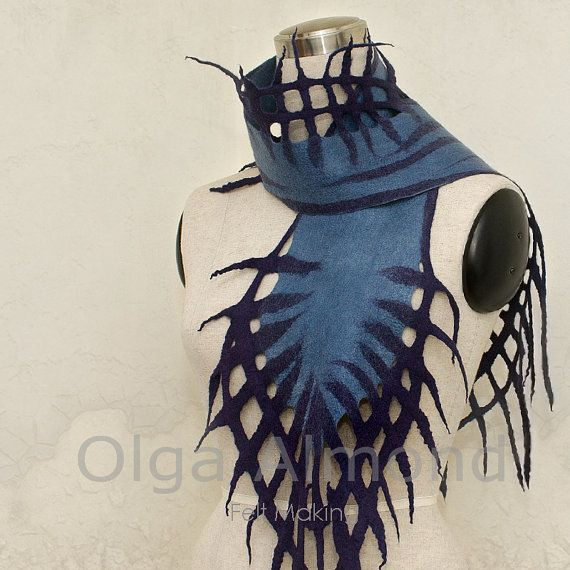 Felted Scarf, hand dyed merino wool and silk by felt artist Olga Liakhovetsky. via OlgaAlmond on Etsy