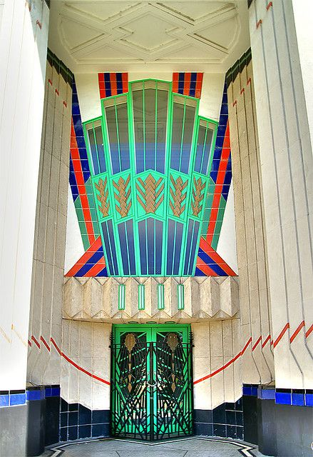 Art Deco door (The Hoover Building - Western Avenue - London). Someone really knows how to make an entrance.