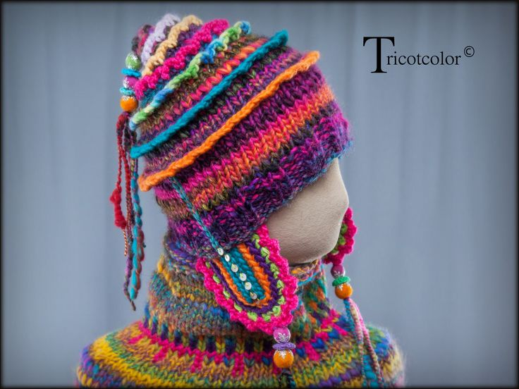 """RESERVE Bonnet chauffe-oreilles Tricotcolor tricoté main en pure laine """" Patagonie """" : Chapeau, bonnet par tricotcolor"""