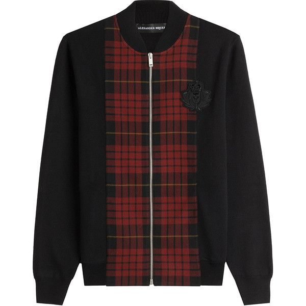 Alexander McQueen Zipped Wool Cardigan ($1,375) ❤ liked on Polyvore featuring men's fashion, men's clothing, men's sweaters, multicolor, mens cardigan sweaters, mens slim fit sweater, mens zip cardigan sweater, mens wool cardigan sweaters and mens zipper sweater