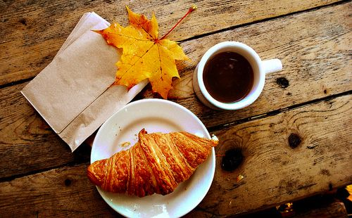 autumn, breakfast, coffee, croissant, fall, leaf - inspiring picture on Favim.com on we heart it / visual bookmark #10643799