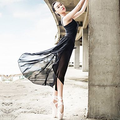 Ballet Outfits Women's Performance Spandex / Satin Draped / Ruched 2 Pieces Black Ballet Backless Sleeveless Skirt / Top 4992866 2016 – $40.49