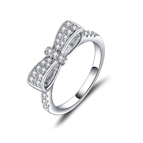 YL Women Ring Jewelry 925 Sterling Silver with White Gold Plated Cubic Zirconia Crisscross Ring NxlNSbc1M3