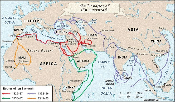 The voyages of Ibn Battuta, the 'most well traveled man before the invention of the steam engine.