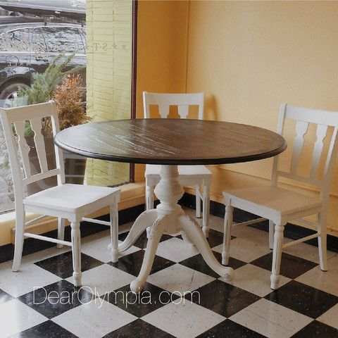 Awesome Four Piece Dinette Set Painted In CeCe Caldwells Paints Vintage White. The  Top Is Stained