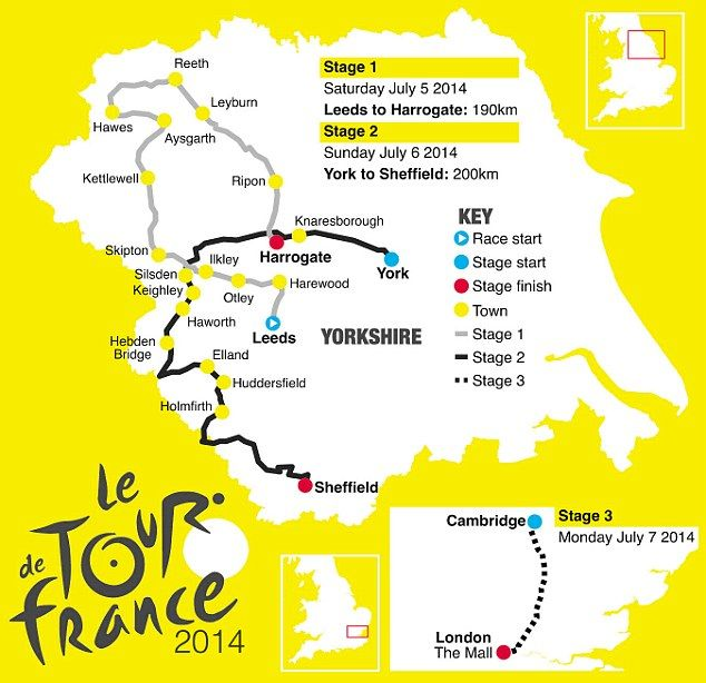 2014's Tour de France route takes in Yorkshire and beyond!  It is going right through Huddersfield!!