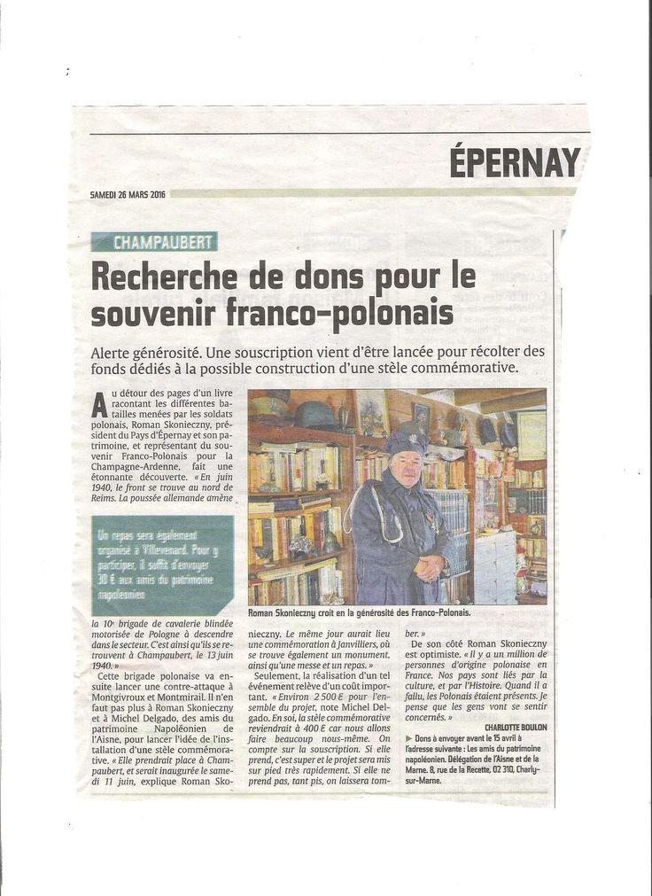 UN ARTICLE VIENT DE PARAITRE DANS L'UNION CONCERNANT LE LANCEMENT D'UNE SOUSCRIPTION AU NIVEAU NATIONAL POUR LA COLLECTE DE FONDS POUR L'EDIFICATION D'UNE STELE COMMEMORATIVE SUR LE PASSAGE DE TROUPES POLONAISES DANS LA REGION D'EPERNAY SUR LA COMMUNE...