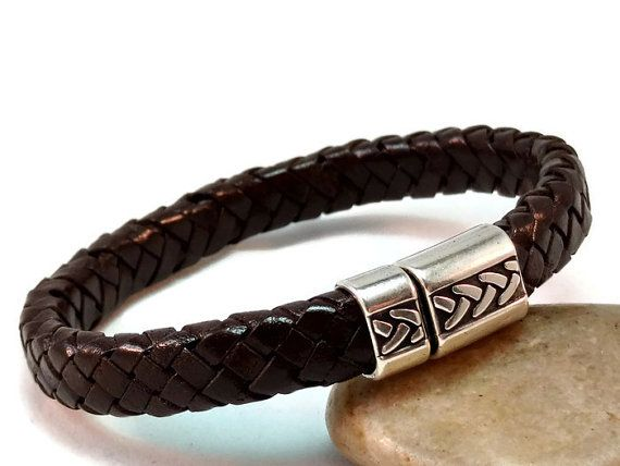 Men's leather bracelet braided licorice by LuckyBeadsBox on Etsy
