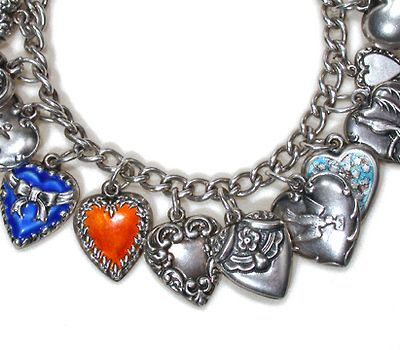 Retro Jewelry (1940's-1950's) -  Vintage silver hearts charm bracelet - wonderful charm bracelet from the 1940s which has remained intact