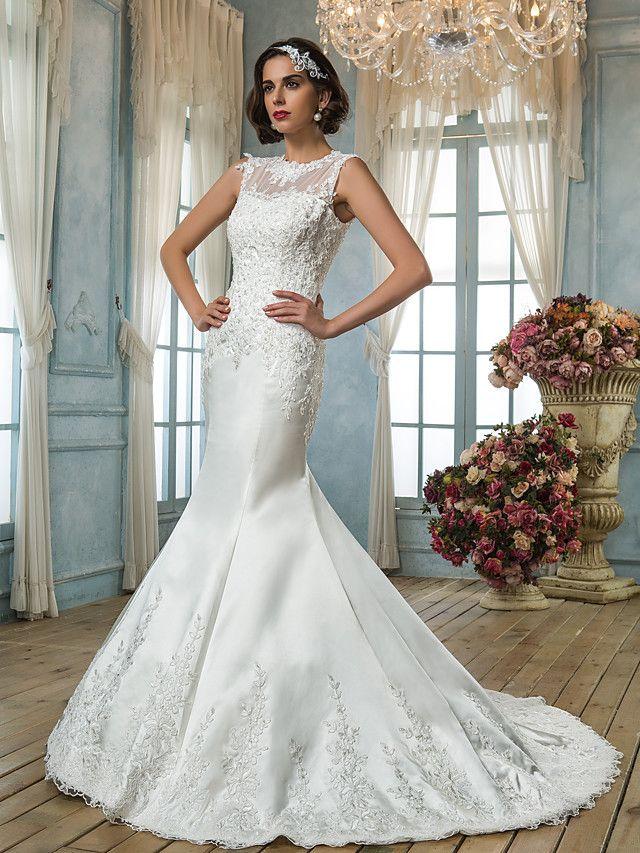 Lanting Bride® Trompeta / Sirena Tallas pequeñas / Tallas Grandes Vestido de Boda - Clásico y Atemporal / Elegante y LujosoInspiración - USD $179.99