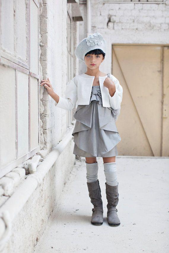 Girl Party Dress Silver Bow Dress Special by CatteliyaTT on Etsy