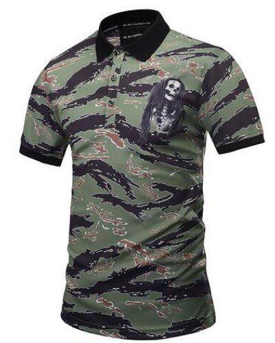 Reggae skull polo shirt camo short sleeve tee for guys plus size