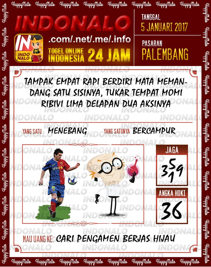 Kode Main 6D Togel Wap Online Live Draw 4D Indonalo Palembang 5 Januari 2017