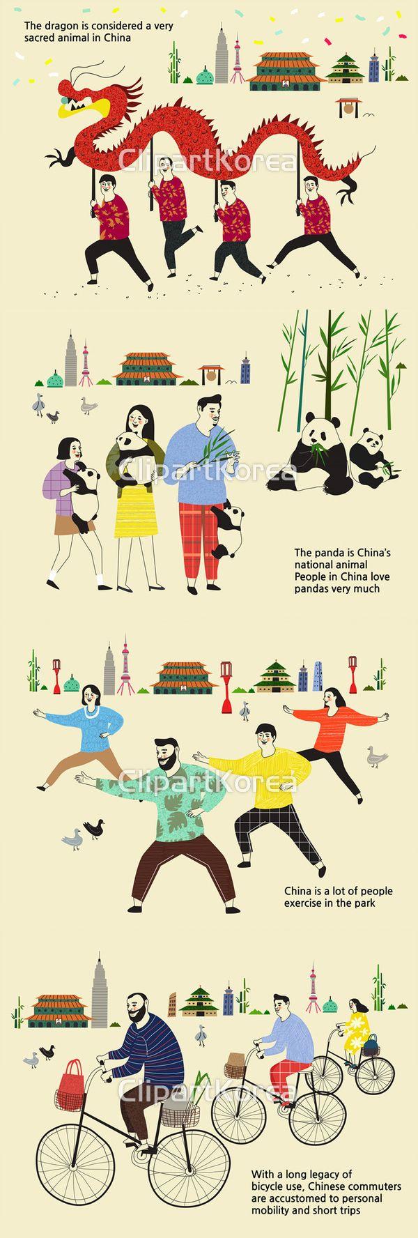 건축물 꽃종이 남자 네명 대나무 동방명주탑 들기 라이프스타일 랜드마크 명소 문화 빌딩 빨간색 사람 어른 영어 용 인형 일러스트 전통 중국 즐거움…