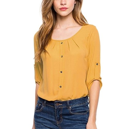 8.58$  Buy here - http://aisvb.worlditems.win/all/product.php?id=G8793Y-L - Women Casual Blouse Three Quarter Roll Up Sleeves Ruched O Neck Buttons Breathable OL Tops Workday Pullover Shirt