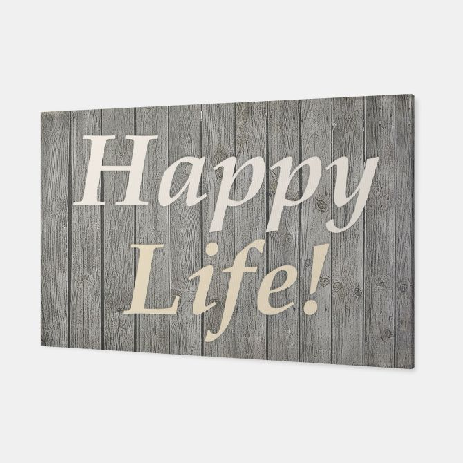 Happy Life Letters Shabby Style Poster Canvas, Live Heroes