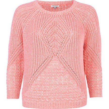 River Island Womens Pink geometric cable knit boxy sweater