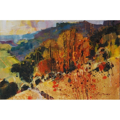 "Chris Forsey. Downs Slopes. 6""x4"". Chris Forsey will be exhibiting with ACEO Gallery at Brighton Art Fair in October"